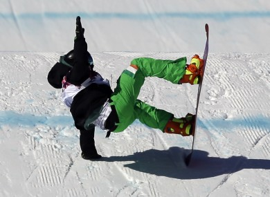 Ireland's Seamus O'Connor crashes during the men's snowboard slopestyle qualifying at the Rosa Khutor Extreme Park.