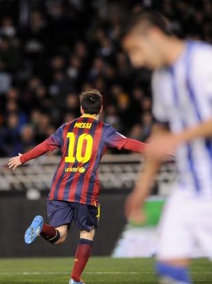 Lionel Messi celebrates scoring in midweek.