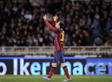 Messi celebrates his second goal.