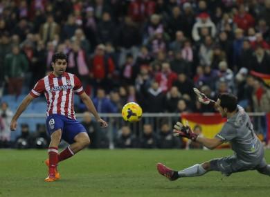 Diego Costa scores Atletico's second.