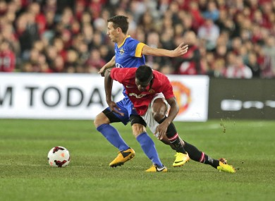 Liam Miller in action against Manchester United last year.