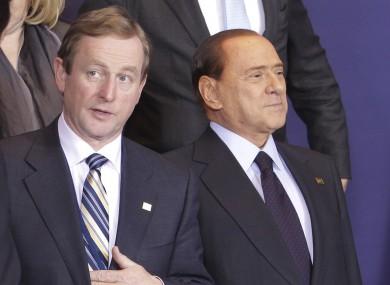 Taoiseach Enda Kenny with former Italian Prime Minister Silvio Berlusconi at an EU summit in 2011.