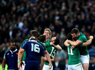Andrew Trimble celebrates with his Ireland teammates in Paris.