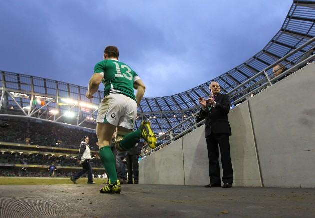Brian O'Driscoll runs on to the pitch
