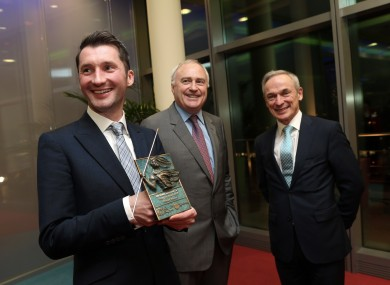 Tony Staunton, CEO of PropertyGgate, with Ronan Murphy of PwC and Jobs Minister Richard Bruton