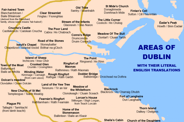 38 districts of Dublin with their literal English translations