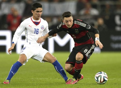Mesut Ozil in action for Germany against Chile.