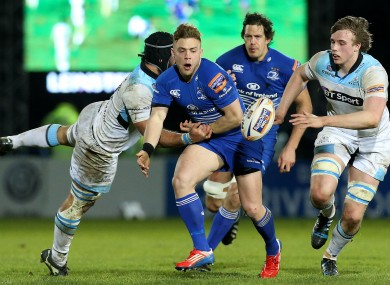Ian Madigan spills the ball in contact during Leinster's home win.