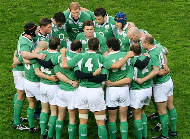 Ireland team with Brian O'Driscoll 3/3/2014