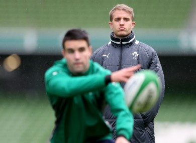 Luke Fitzgerald watches Conor Murray training with Ireland in January.
