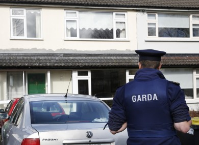A Garda at the scene on Monday