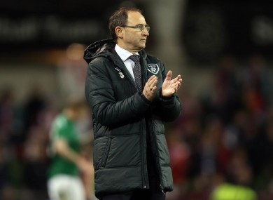 O'Neill applauding his players last night.