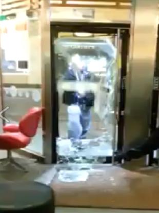 The man kicking down the door in McDonald's