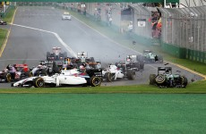 Kamui Kobayashi didn't even make it past the first corner at the Australian Grand Prix
