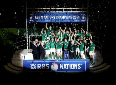 Ireland celebrate their Six Nations triumph last weekend.