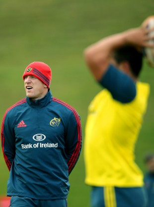 O'Connell watches Munster training on Tuesday afternoon.