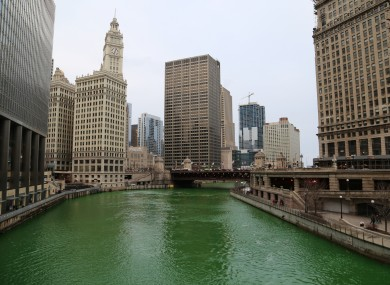 Chicago, and it's St. Patrick's Day inspired green-dyed river