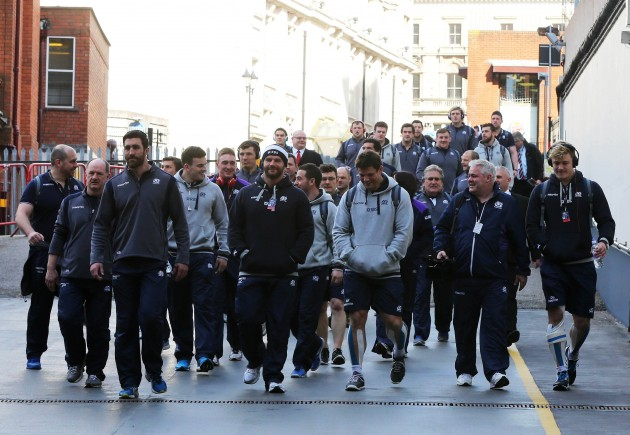 Scotland team make their way into the Millennium Stadium
