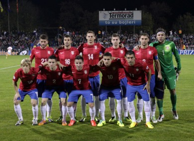 The Serbian team before last year's qualifier against Macedonia.