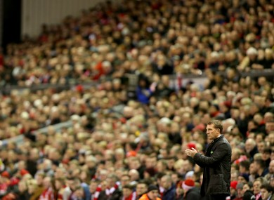 Brendan Rodgers on the sideline at Anfield tonight.