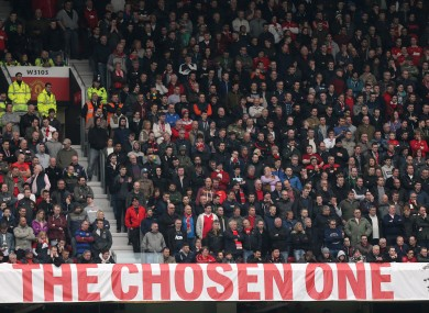 The banner which has been hung by the Old Trafford faithful.