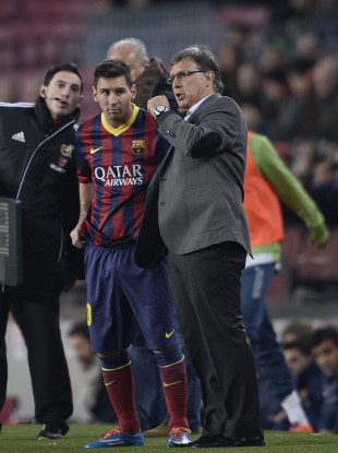 Tata Martino with Lionel Messi.