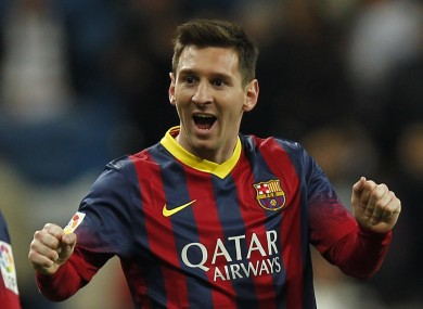 Barcelona's Lionel Messi from Argentina, celebrates their victory during a Spanish La Liga soccer match.
