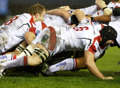Roger Wilson and Stephen Ferris in the Ulster scrum.