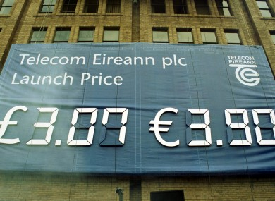 A banner trumpets Telecom Eireann's - later Eircom - stock price at launch in 1999.