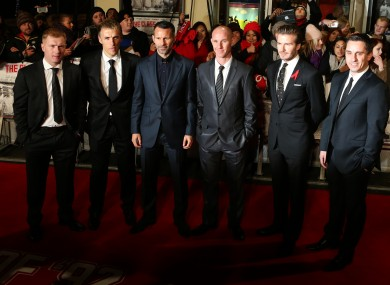 Paul Scholes, Phil Neville, Ryan Giggs, Nicky Butt, David Beckham and Gary Neville.