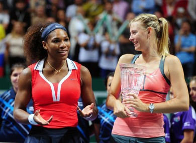 Williams and Sharapova, pictured here at the WTA Championships in 2012.