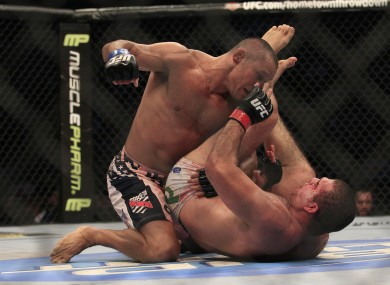 Henderson gets on top of Shogun during their first fight in November 2011.