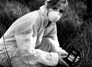 Adi Roche measuring radiation in Chernobyl.