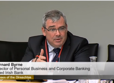 AIB's Bernard Byrne at the jobs committee today.
