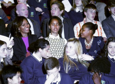 Malia Obama crosses her eyes at a special performance of Riverdance at the Gaiety Theatre on 17 June last year.