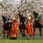 Drummers and Bollywood dancers join members of the 'Red Hot Chilli Pipers' at the launch of Glasgow Mela, Scotland's biggest multi-cultural festival.<span class=