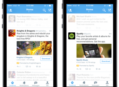 How the new Twitter app install ads will look.