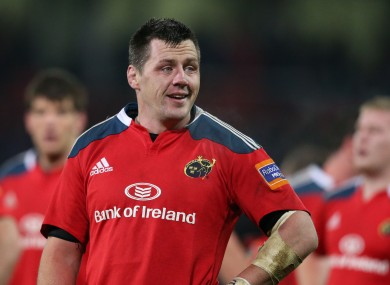 Coughlan has started six of Munster's seven Heineken Cup games so far this season.