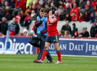 Hanrahan exits Saturday's loss to Glasgow.
