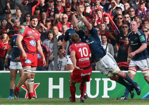 Jonny Wilkinson has his drop goal attempt charged down by James Coughlan