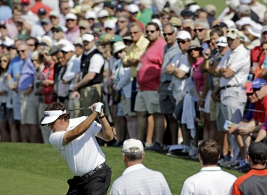 Phil Mickelson tees off on the second hole during the second round yesterday.