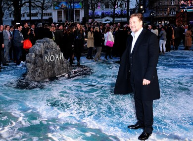 Russell Crowe standing on a very convincing 'flood look' carpet.