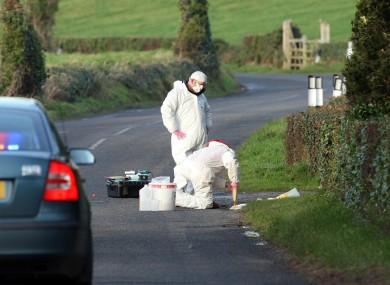 Police forensic officers examine a murder scene outside Comber, Co Down, where body of Philip Strickland, 36, was found shot dead in a car.