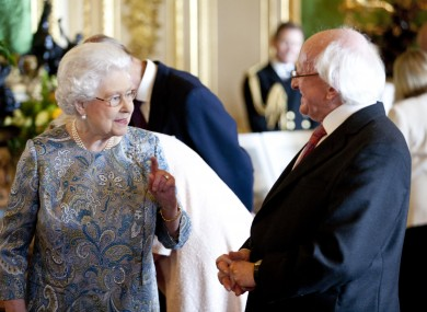 Queen Elizabeth and Michael D Higgins in Windsor Palace earlier today