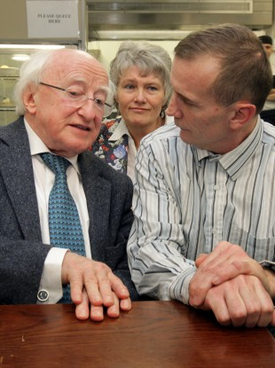 President Higgins speaking to homeless people (File photo)