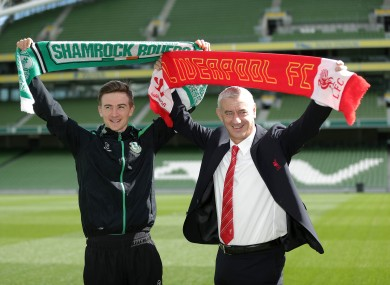 Rush with Shamrock Rovers midfielder Ronan Finn ahead of Liverpool's game at the Aviva Stadium on 14 May.