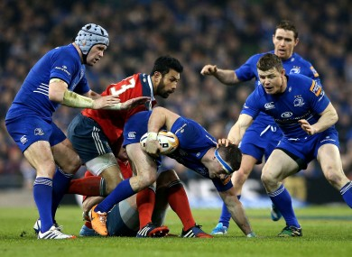 Munster and Leinster players during the recent PRO12 clash at the Aviva Stadium.