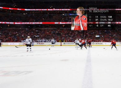 An example of Google Glass being used for sports with hockey fans provided with real-time states, instant replay and different camera angles via Glass.