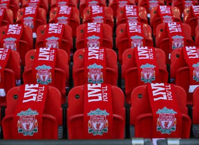 Liverpool scarves cover 96 seats as part of the 25th Hillsborough anniversary memorial.