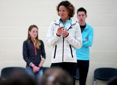 Sonia O'Sullivan talks to students at St Brigid's National School in Castleknock. Fionnuala Britton and Paul Robinson are pictured in the background.